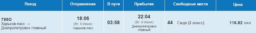 ЖД билеты из Харькова в Днепропетровск