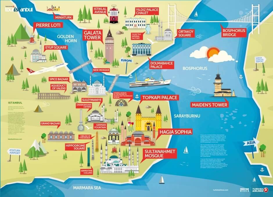 карта достопримечательностей Стамбула, Турция