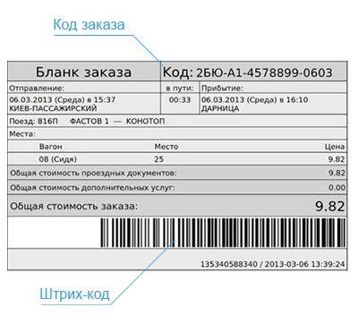 Бланк заказа жд билета онлайн для распечатки