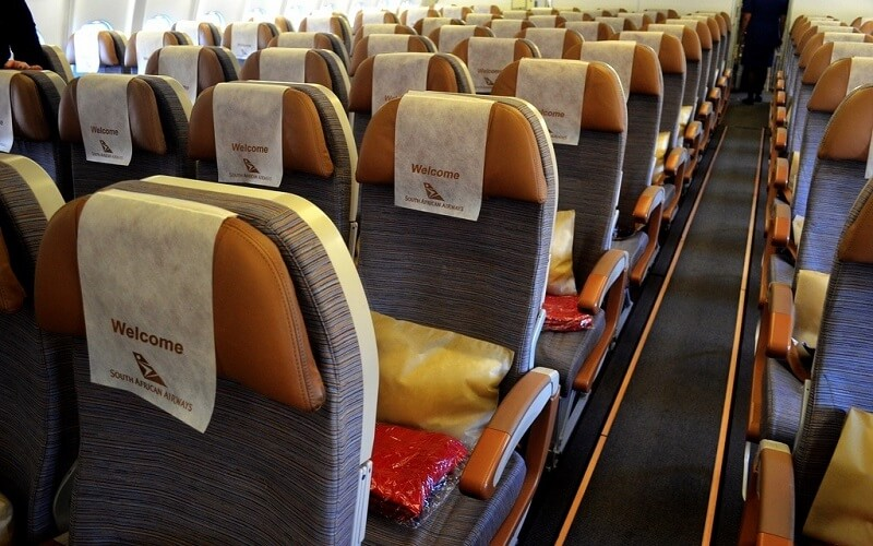 борт самолета Южно Африканские авиалинии SOUTH AFRICAN AIRWAYS