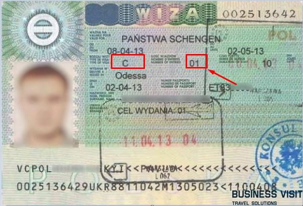 шенгенская виза, пример