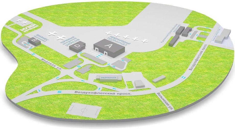 Карта аэропорт Жуляны