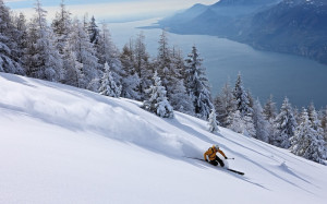лыжный спуск на Новый год