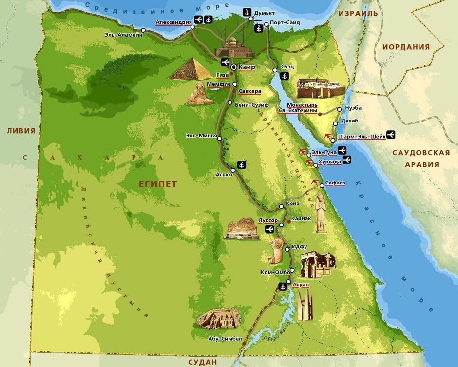курорты Египта, карта