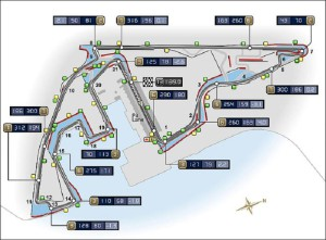 схема треку в Абу-Дабі, ОАЕ