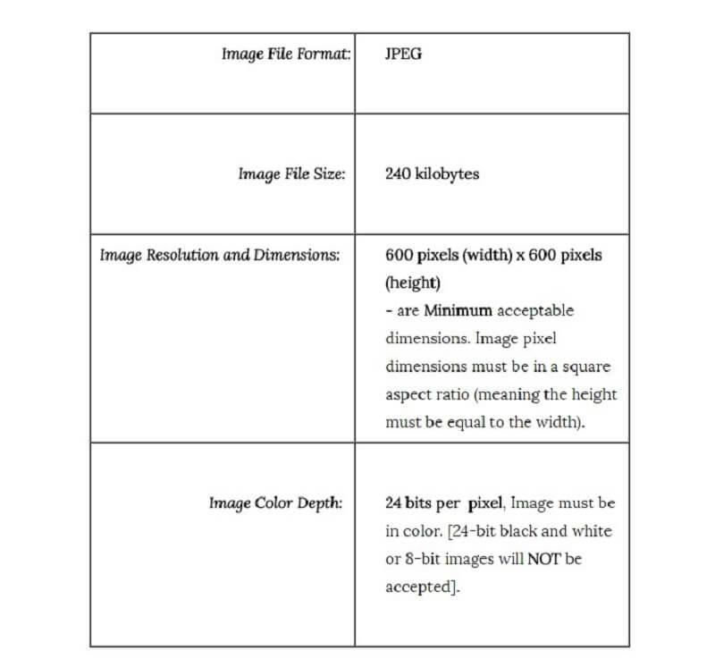 параметры фотоснимка для участника DV lottery