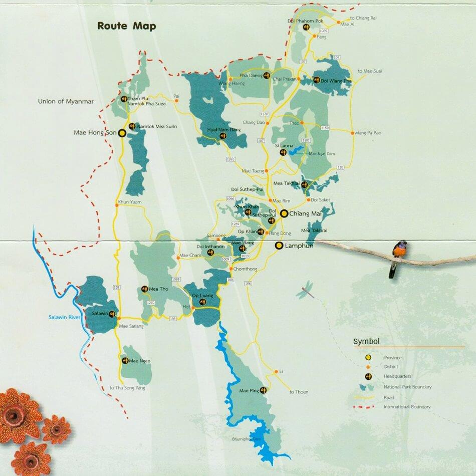 национальные парки Таиланда, карта