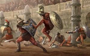 сражение гладиаторов в Римском Колизее