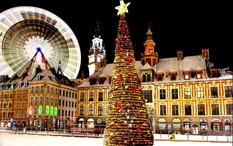 рождественская ярмарка в городе Лилль, Франция