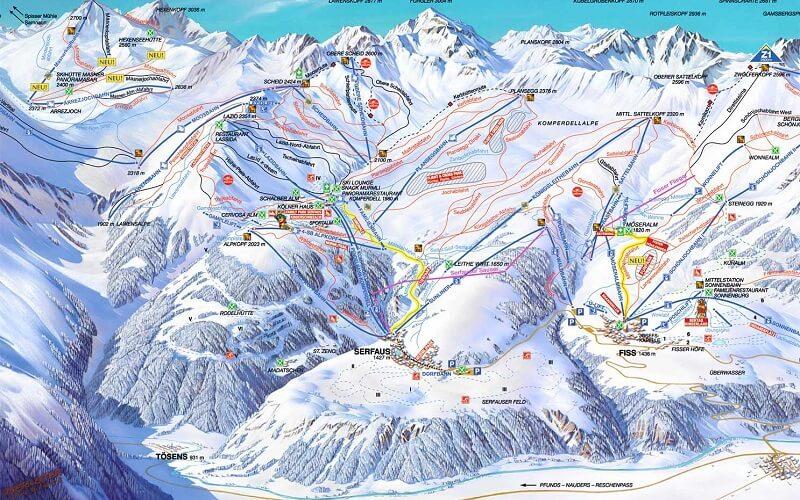 горнолыжный курорт Тироль карта