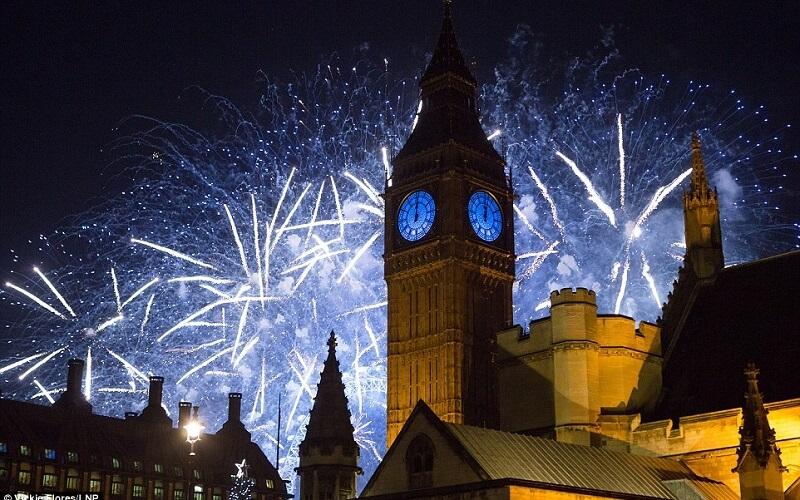 фейверки на Новый год в Лондоне, Великобритания