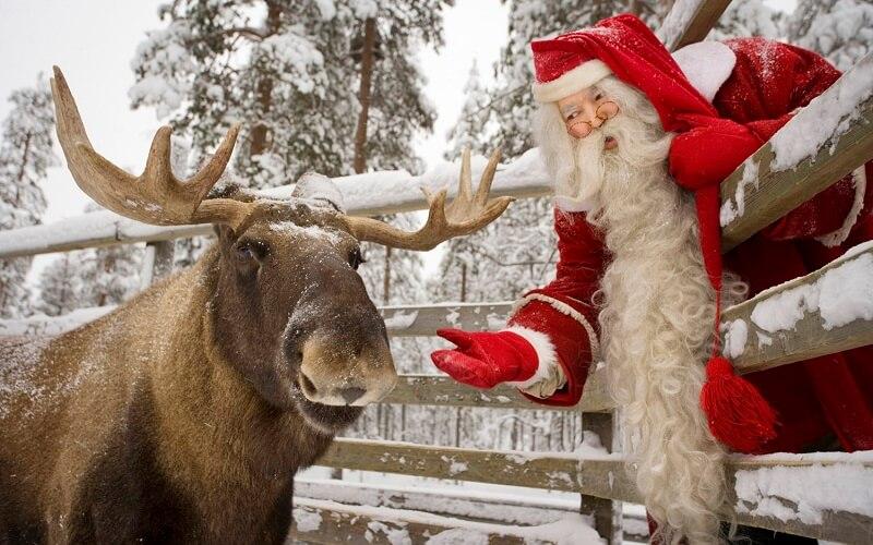 Санта Клаус и лось