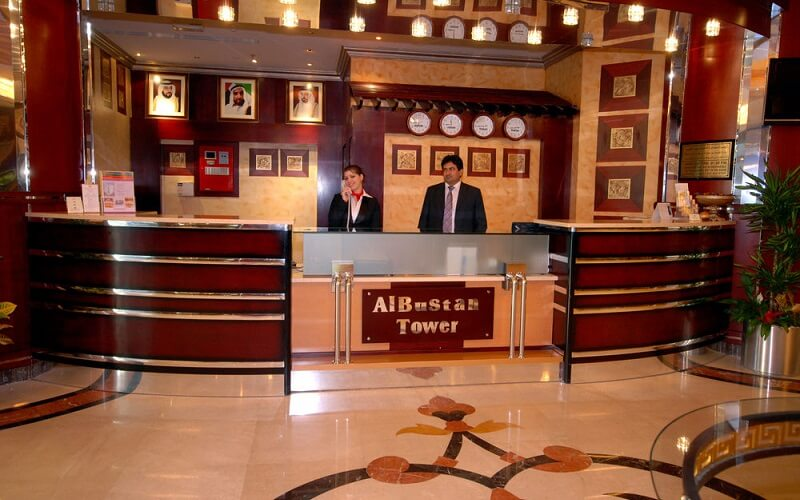 лобби в Al Bustan Tower Hotel Suites 3*, ОАЭ, Шарджа