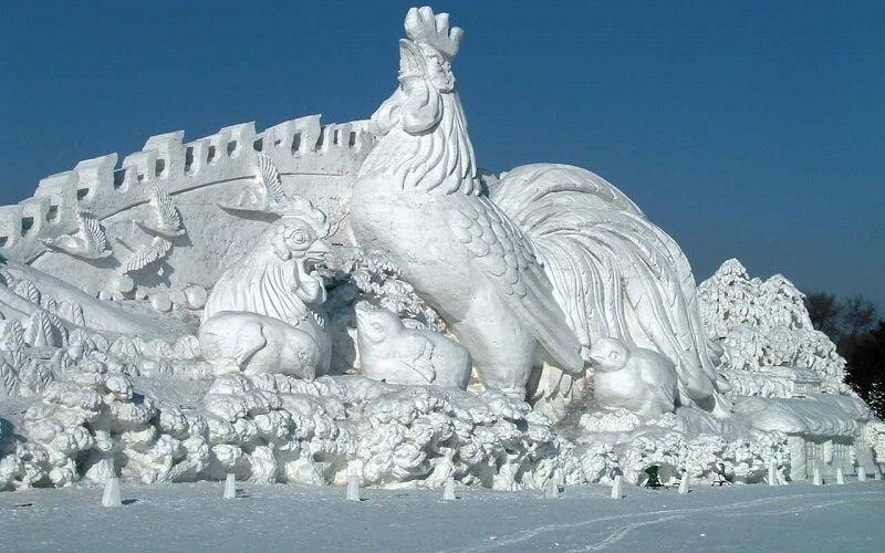 ледяная скульптура в Китае