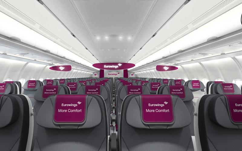 салон літака авіакомпанії Eurowings