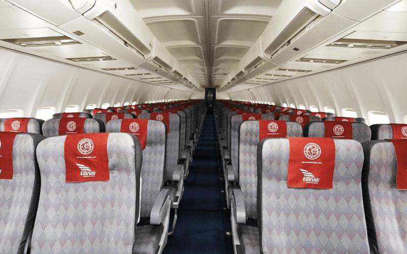салон літака авіакомпанії Ellinair