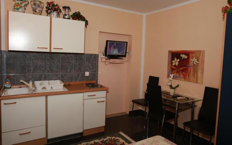 Кухня в номері, готель Villa Skazka 3*, Будва, Чорногорія