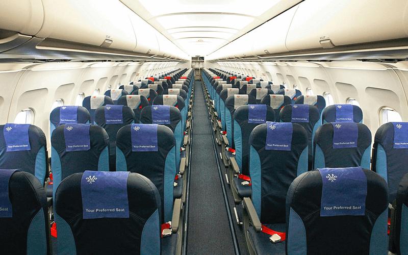 салон самолета авиакомпании Air Serbia