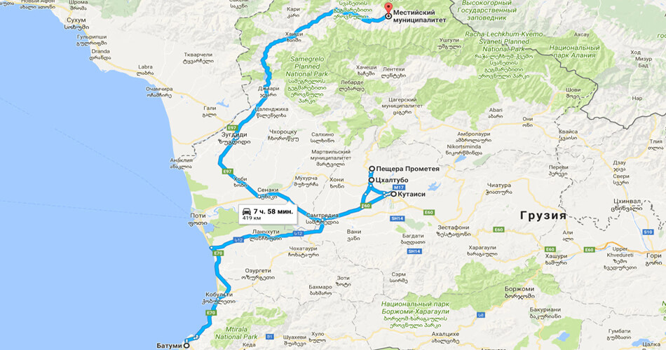 Карта маршрута по Грузии