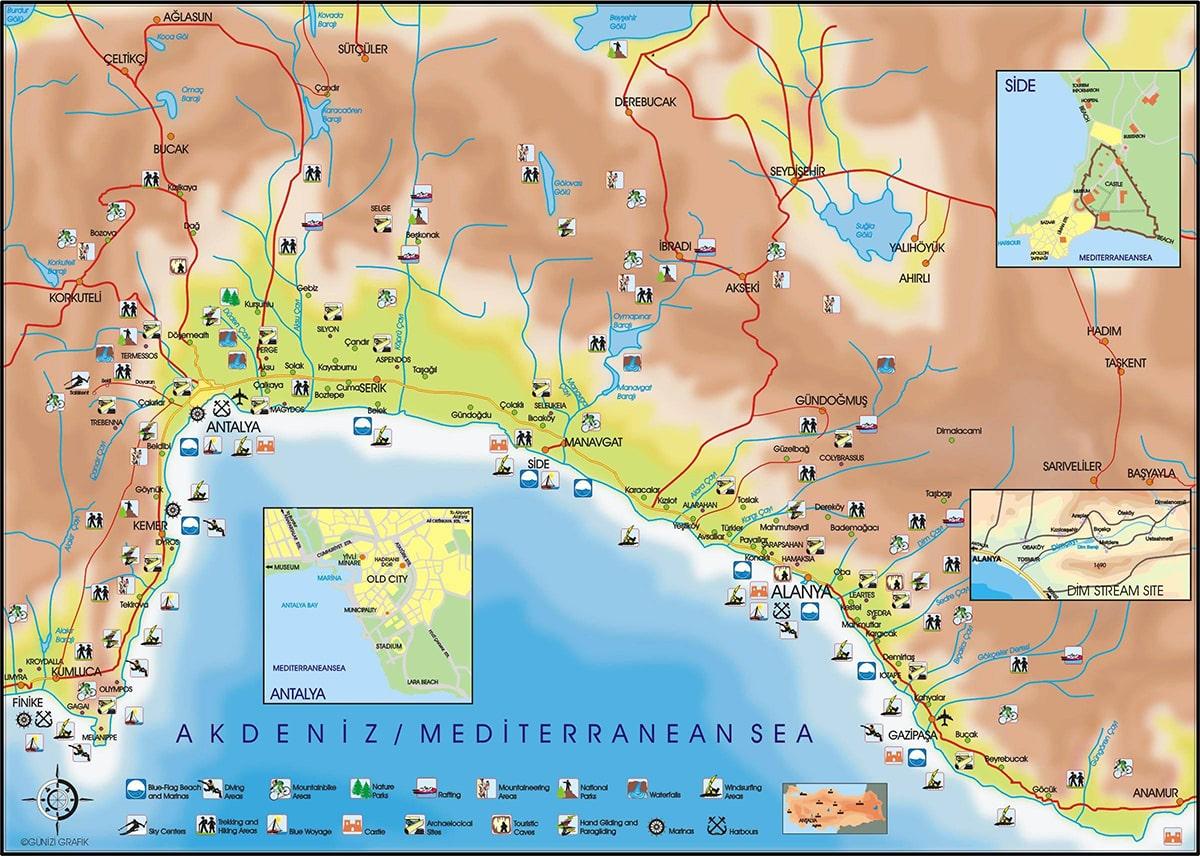 Аланья на карте